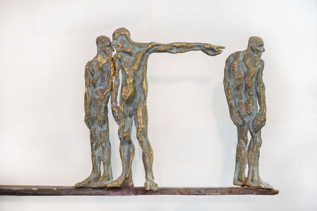 Catalin Badarau, ,,Scaffold,, , 2010, Sculpture, bronze  and iron, aprox. 30X45X5 cm (HXWXD) (1)