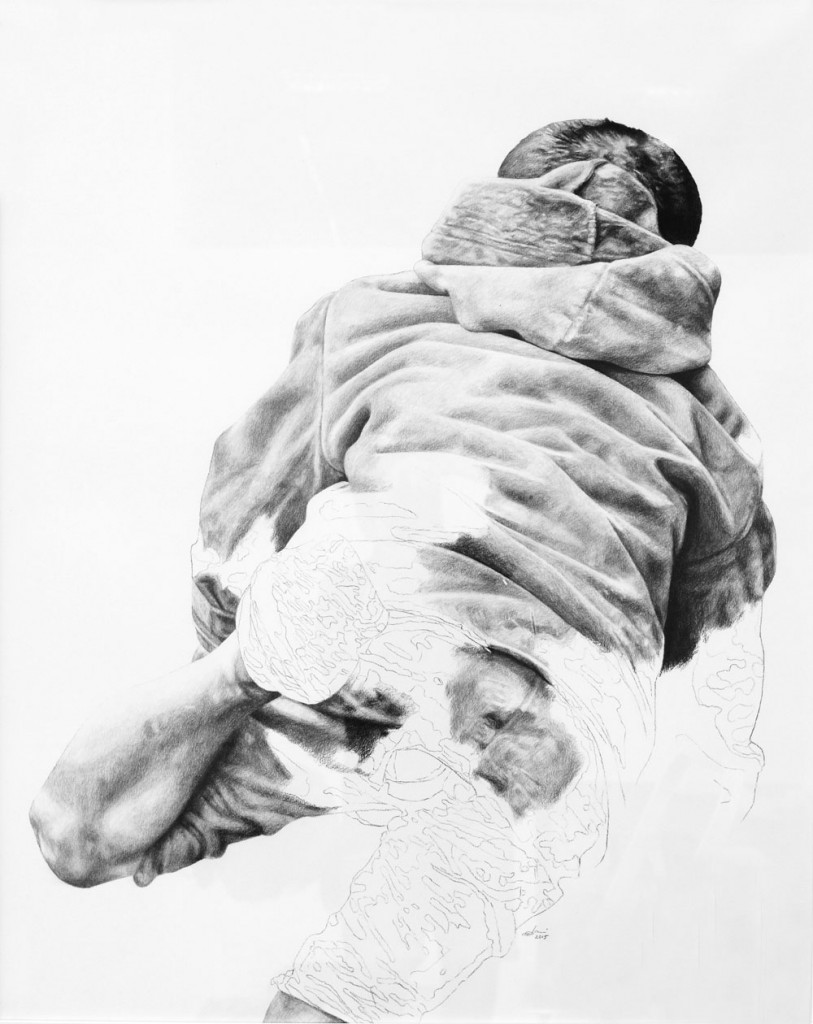 Daniel Brici, Freedom, 2015, charcoal and crayons on paper, 100x80 cm