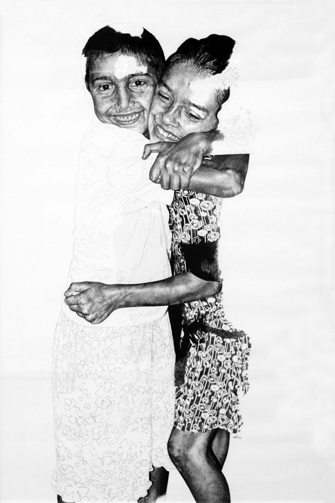 Daniel Brici, Rosalinda Friends, 2015, charcoal and crayons on paper, 150x100 cm