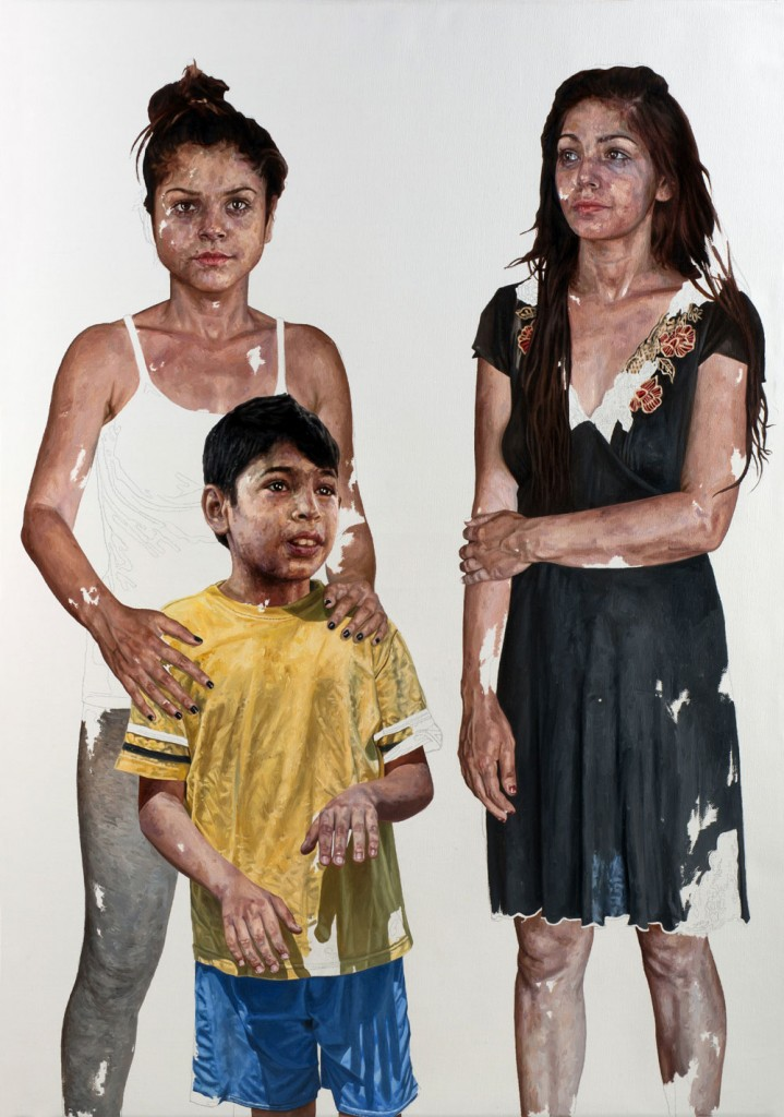 Daniel Brici, Toto and His Sisters, 2014, Pencil, oil on  canvas, 100 x 70 cm, courtesy Alexander Nanau Production