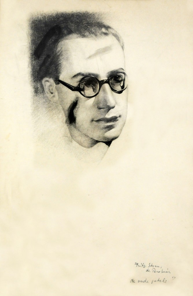 Jules Perahim, Fritz Stern portrait - the Hedda Sterne first husband, pencil on paper, 35x53 cm