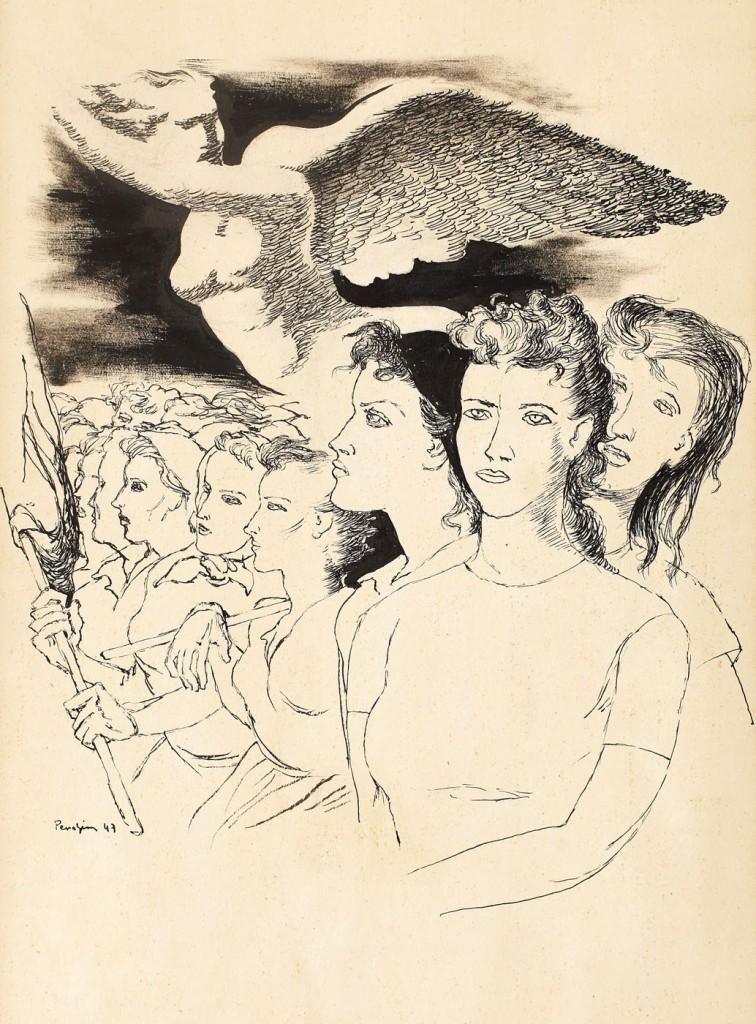 """Jules Perahim, România muncitoare, ink on paper, 39,5 × 30 cm, 1947, Exhibited in """"Grafica în pictura românească"""", Muzeul Naţional Cotroceni, Bucharest, 2012"""
