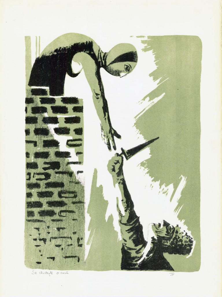 Jules Perahim, Se cladeste o casa, 1957, lithograph, 45,5 x 34,5 cm