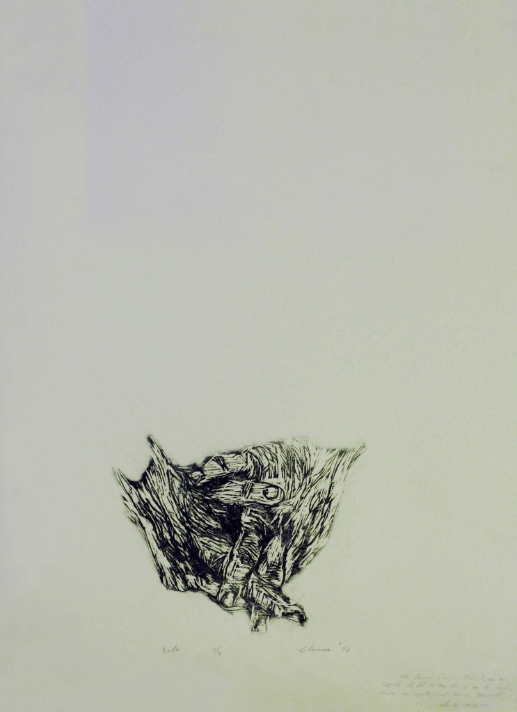 Laura Ghinea, Hands, woodcut on canson, edition 3 from 4, 1996, 70 x 50 cm