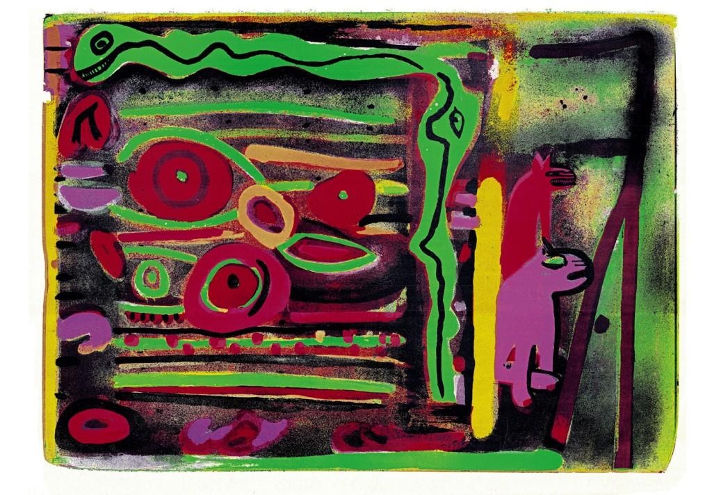 László Ujvárossy, Visul Sarpelui, 1990, E.A., lithogaph, 70x100 cm