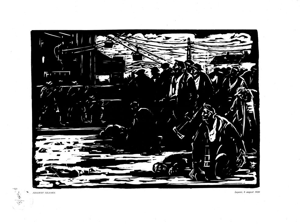 Adalbert Szlamka, Lupeni 6 august 1929, 1959, linocut print, 34×48,5 cm