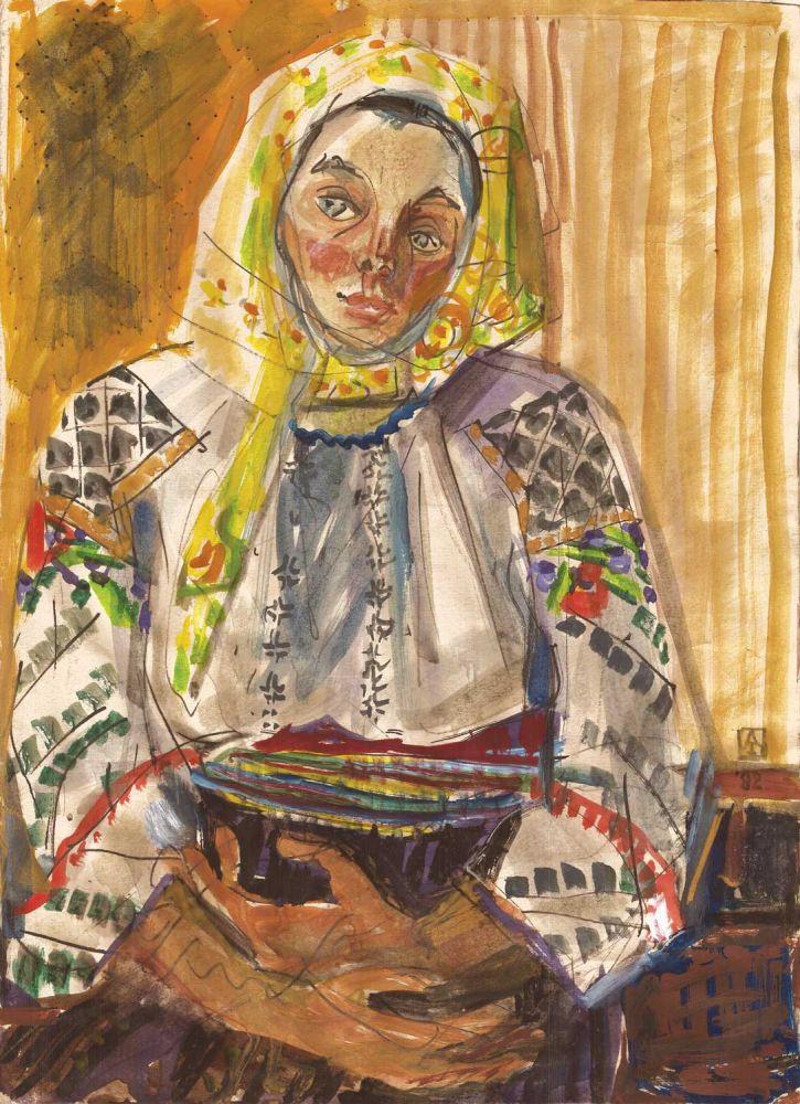 Ana Iliuț, Bucovineancă, 1978-1982, guașă pe hartie, 50x39 cm