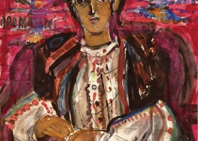 Ana Iliuț, Aromâncă, 1978-1982, guașă pe hartie, 50x39 cm