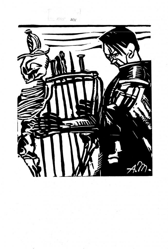 Aurel Mărculescu, Cintaretul mortii (Hitler), linocut, published in Clopotul newspaper, 1933, reprinted 1963