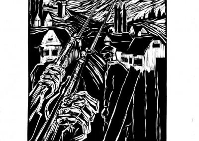 Elena Bianu, Sub teroare, 1959, linocut print, 34×48,5 cm