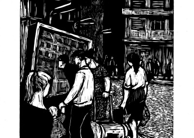 Xenia Eraclide Vreme, Proiectul prinde viață, 1961, woodcut, 34x48,5 cm