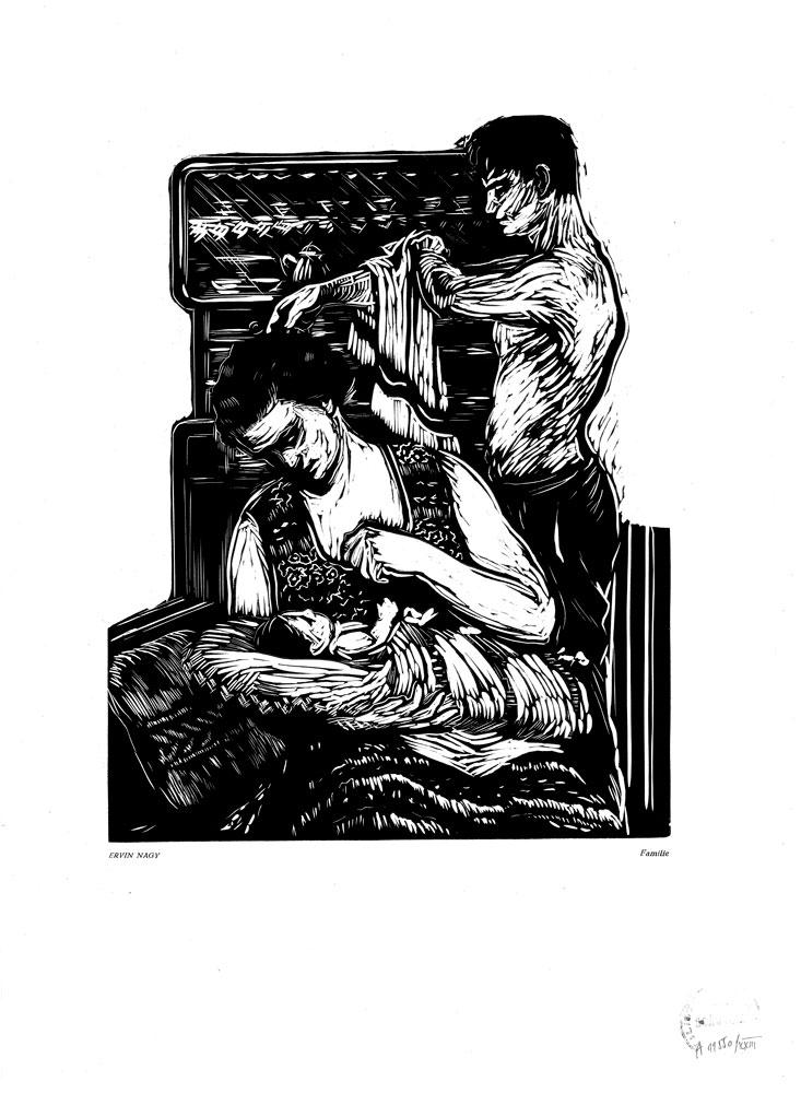 Ervin Nagy, Familie, 1959, linocut print, 34×48,5 cm