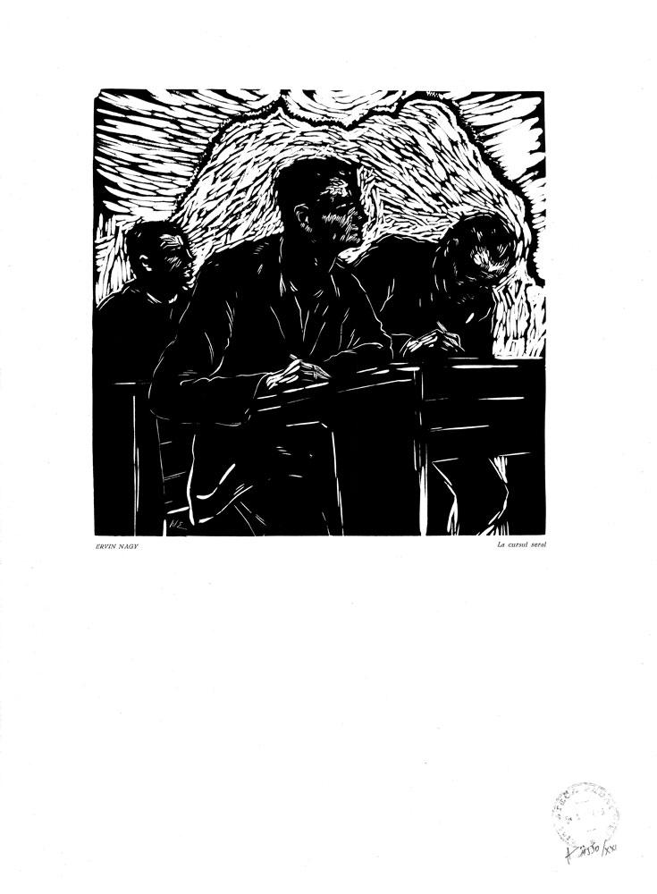 Ervin Nagy, La cursul seral, 1959, linocut print, 34×48,5 cm