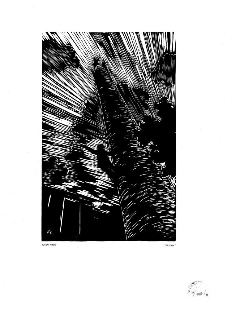 Ervin Nagy, Victorie!, 1959, linocut print, 34×48,5 cm