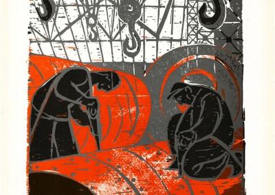 Eva Cerbu, La cazangerie, 1963, color woodcut, 34 x 48,5 cm