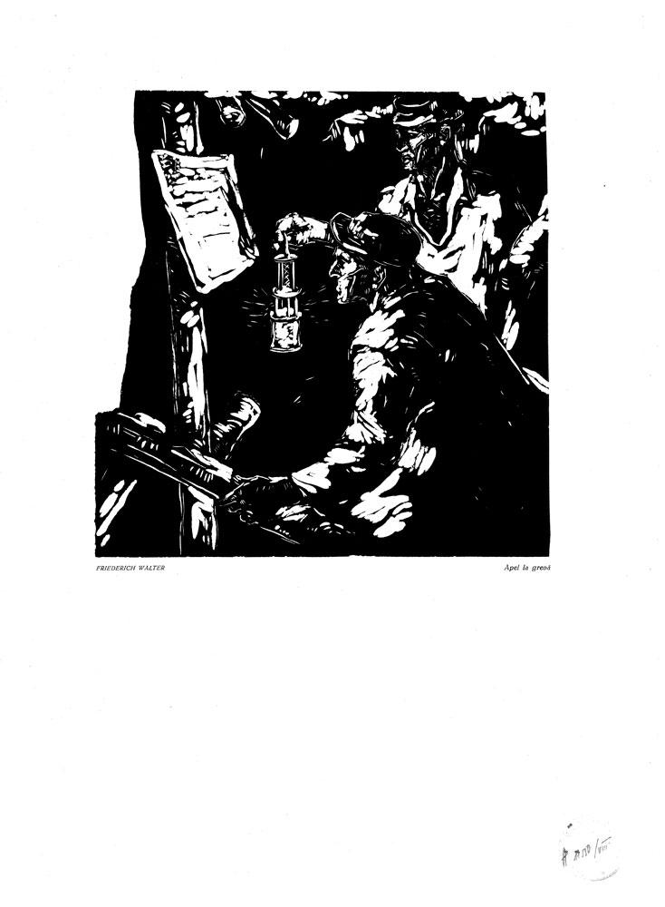 Friedrich Walter, Apel la greva, 1959, linocut print, 34×48,5 cm