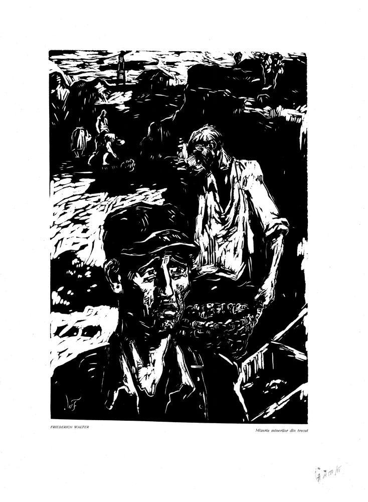 Friedrich Walter, Mizeria minelor din trecut, 1959, linocut print, 34×48,5 cm