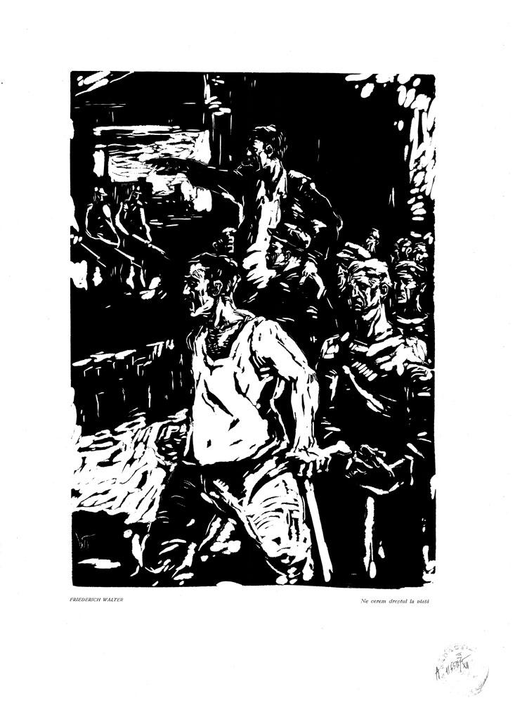 Friedrich Walter, Ne cerem dreptul la viata, 1959, linocut print, 34×48,5 cm