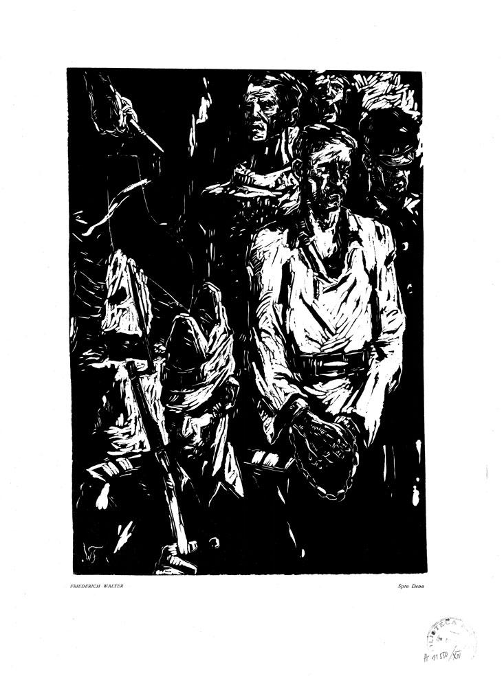 Friedrich Walter, Spre Deva, 1959, linocut print, 34×48,5 cm