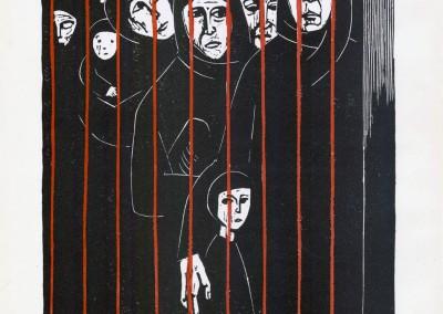 Geta Bratescu, Femeile (imaginea I din tripticul Femeile-Grevistul-Noaptea) linogravura, 1963, 48.5 x 34 cm
