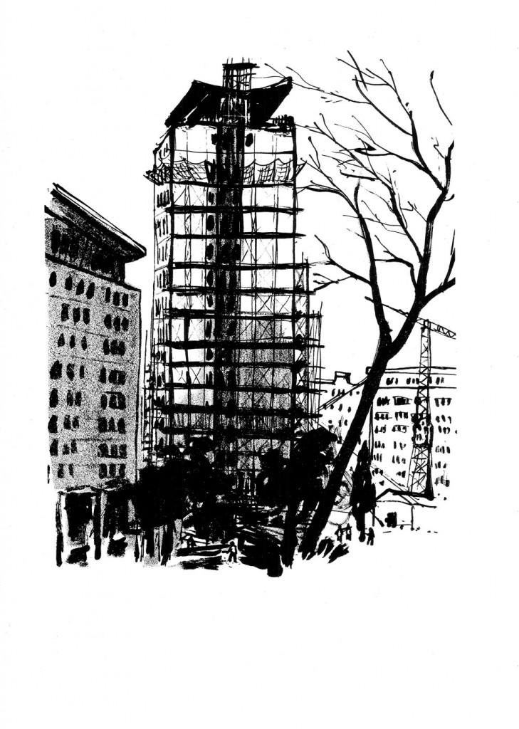 "Gheorghe Boțan, Șantierul ""16 etaje"", 1959, lithograph, 34x48,5 cm"