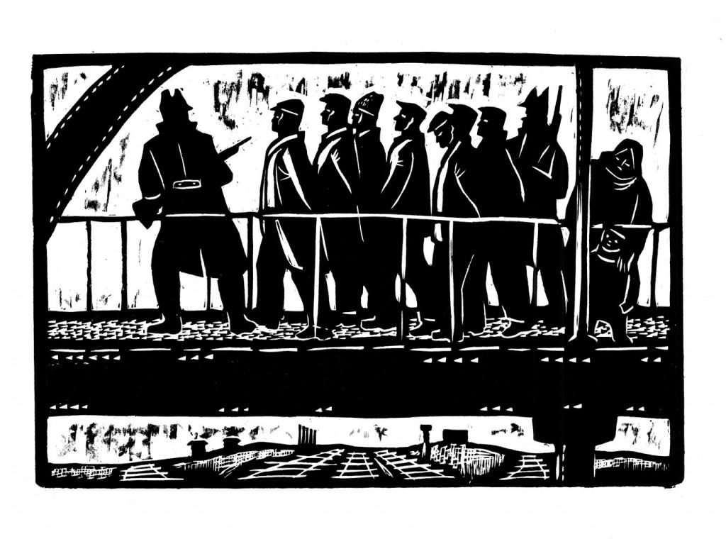 Gheorghe Boțan, Aresatarea ceferiștilor, 1963, woodcut, 42x34cm