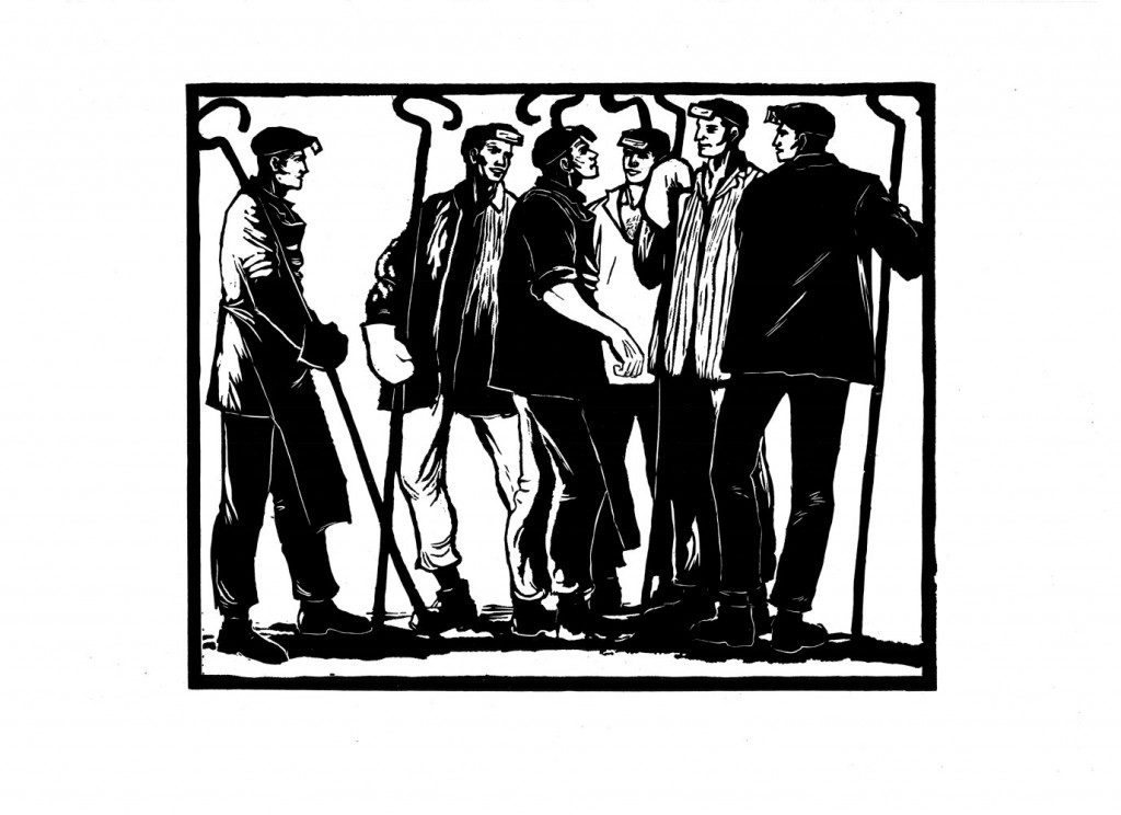 Gheorghe Boțan, Discuția planului, 1959, linocut, 34x48,5 cm