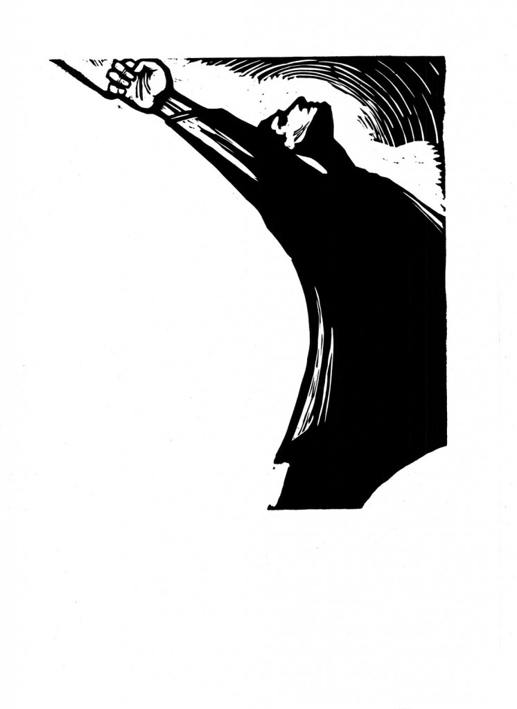 Gheorghe Boțan, Vasile Roaita, 1960, linocut, 34x48,5 cm