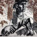 Gheorghe Ivancenco, 1907 Vine Furtuna, 50x64 cm, litografie color, hârtie, exemplar de artist, semnat, 1977