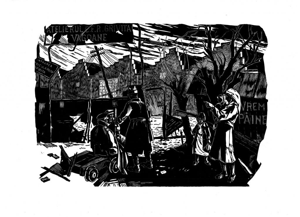 Gheorghe Naum, Grivița 1933 după represiune, 1960, linocut, 34×48,5 cm