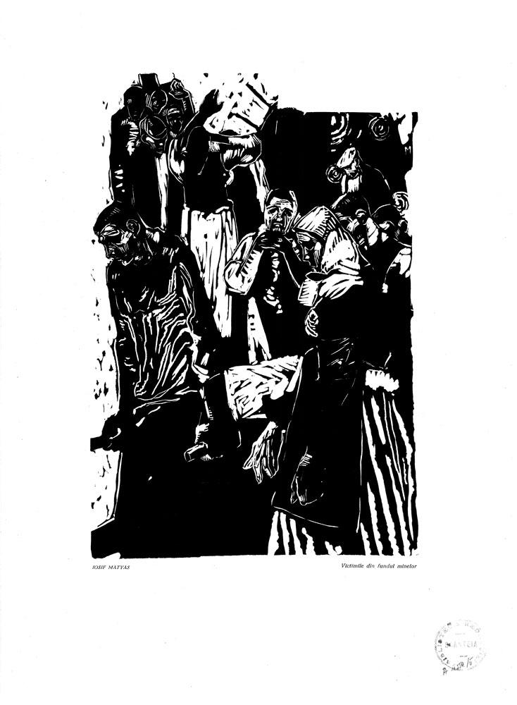 Iosif Matyas, Victimile din fundul minelor, 1959, linocut print, 34×48,5 cm