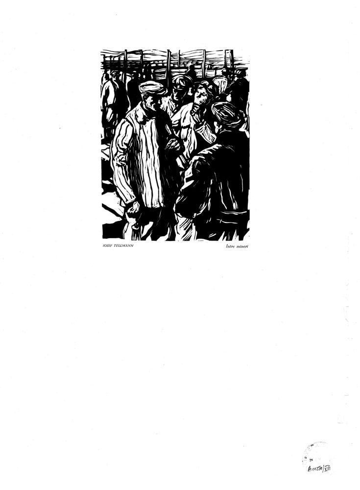 Iosif Tellmann, Între mineri, 1959, linocut print, 34×48,5 cm
