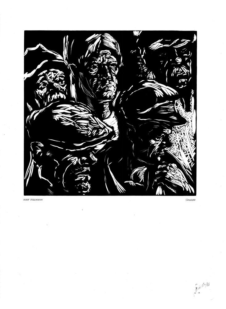 Iosif Tellmann, Grevistii, 1959, linocut print, 34×48,5 cm