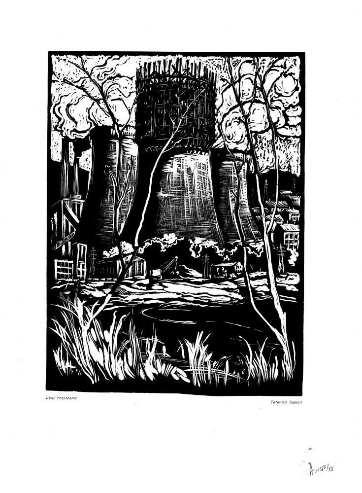 Iosif Tellmann, Turnurile luminii, 1959, linocut print, 34×48,5 cm