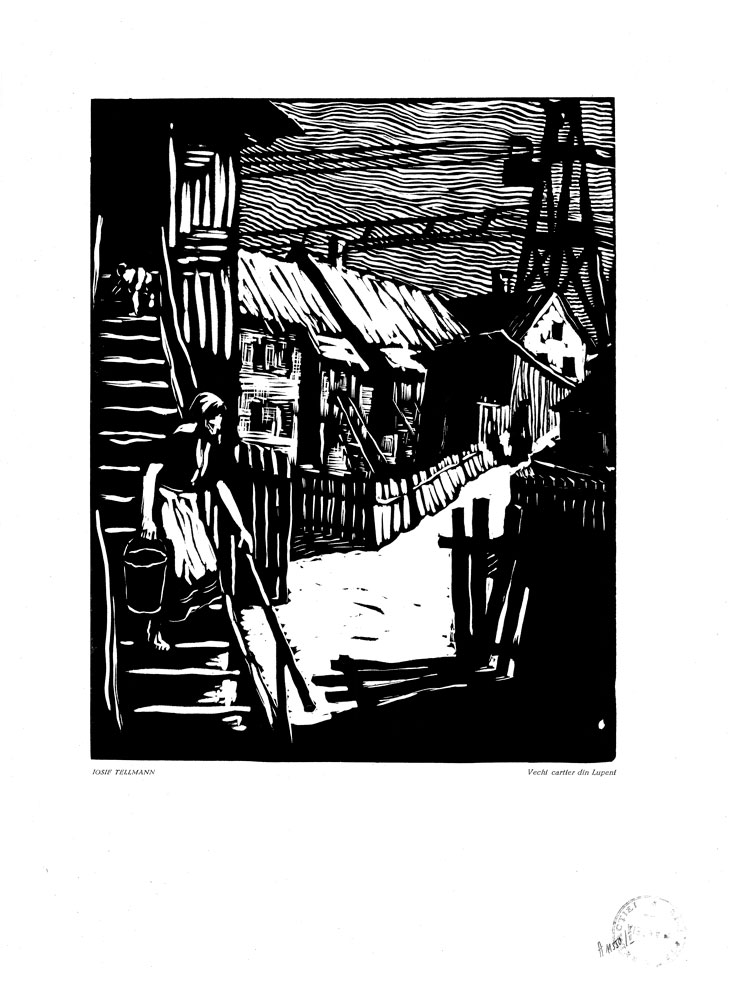 Iosif Tellmann, Vechi cartier din Lupeni, 1959, linocut print, 34×48,5 cm