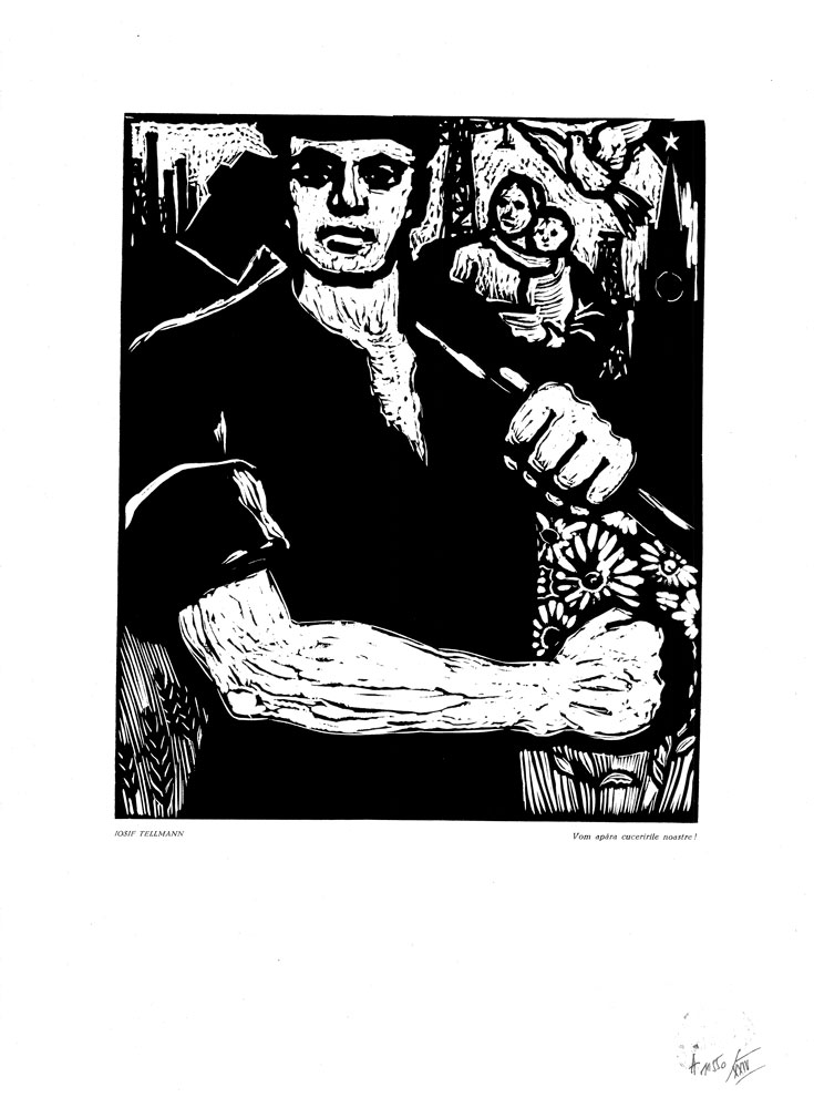 Iosif Tellmann, Vom apara cuceririle noastre!, linocut print, 34×48,5 cm