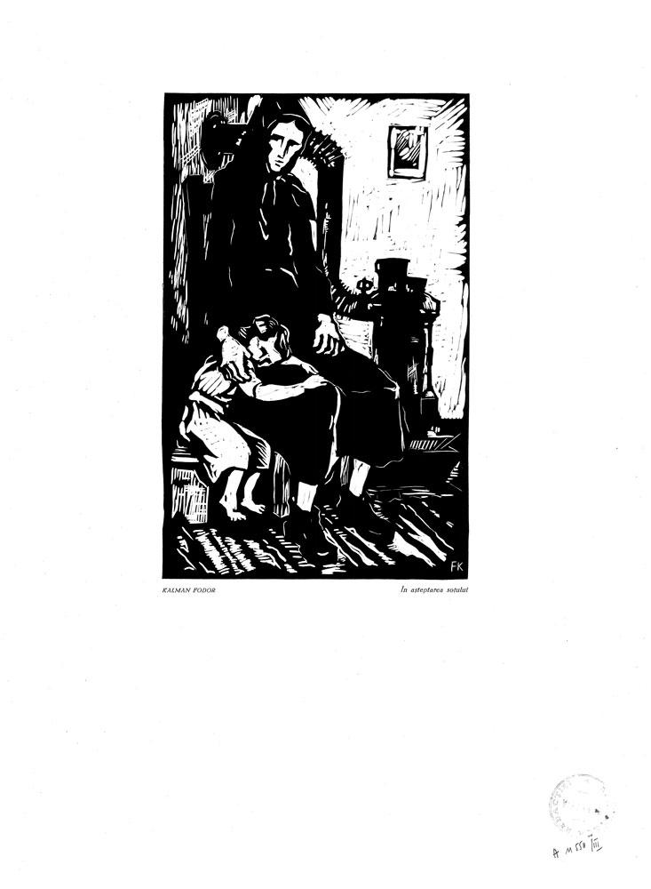 Kalman Fodor, În așteptarea soțului, 1959, linocut print, 34×48,5 cm