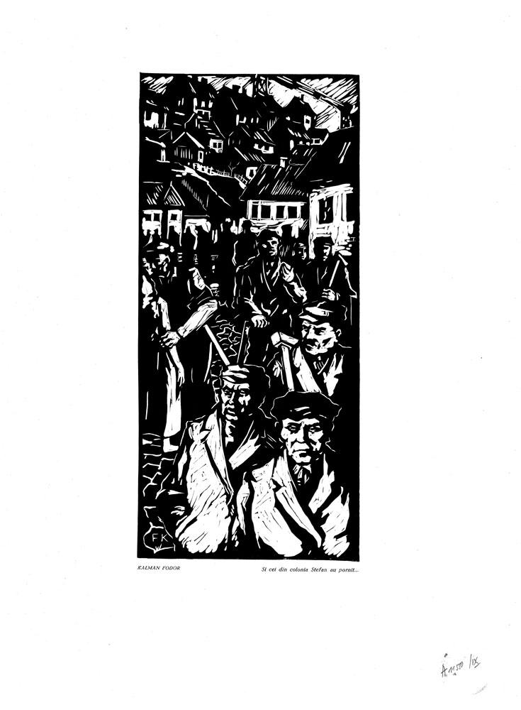 Kalman Fodor, Si cei din colonia Stefan au pornit, 1959, linocut print, 34×48,5 cm