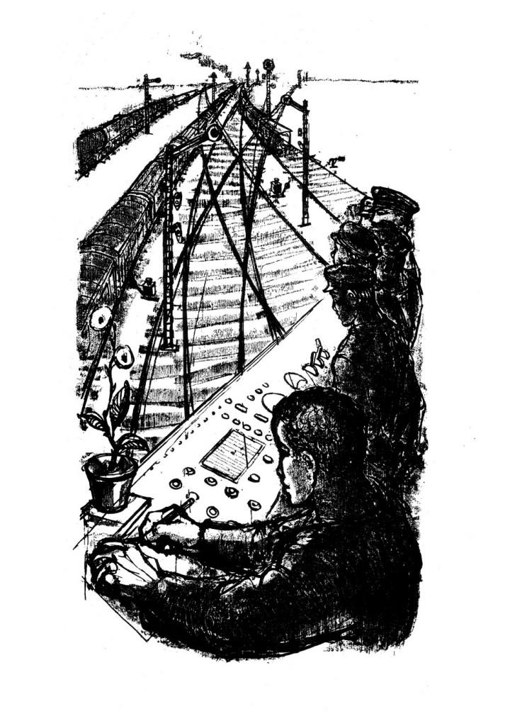 Marcel Chirnoaga, Cabina, 1963, lithograph, 34x48.5 cm