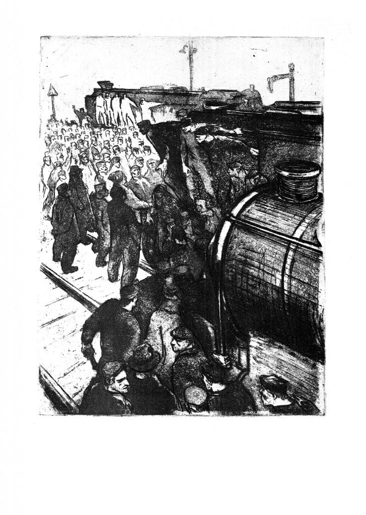 Marcel Chirnoaga, Chemarea la greva, 1960, etching and aquatint, 34x48.5 cm