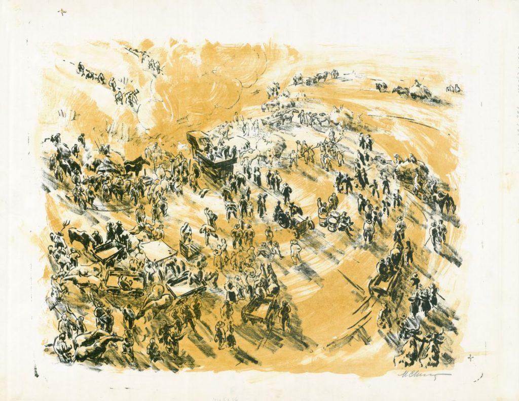 Marcel Chirnoaga, Colectivizare, litografie color, 55x41 cm