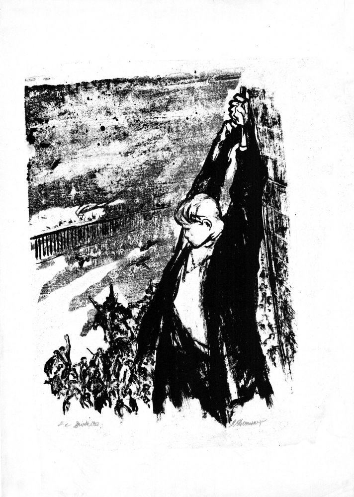 Marcel Chirnoaga, Grivita 33, Sirena lui Vasile Roaita, litografie, 70x50 cm