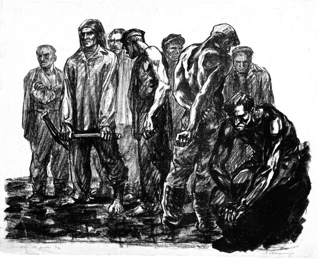Marcel Chirnoaga, Lupeni 1929, litografie, 60x47 cm