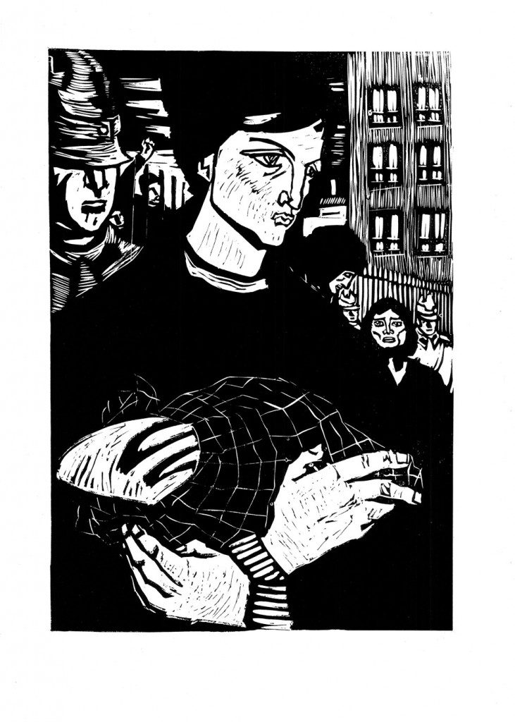 Mihail Gion, Paine pentru grevisti, 1963, linocut, 34×48,5 cm