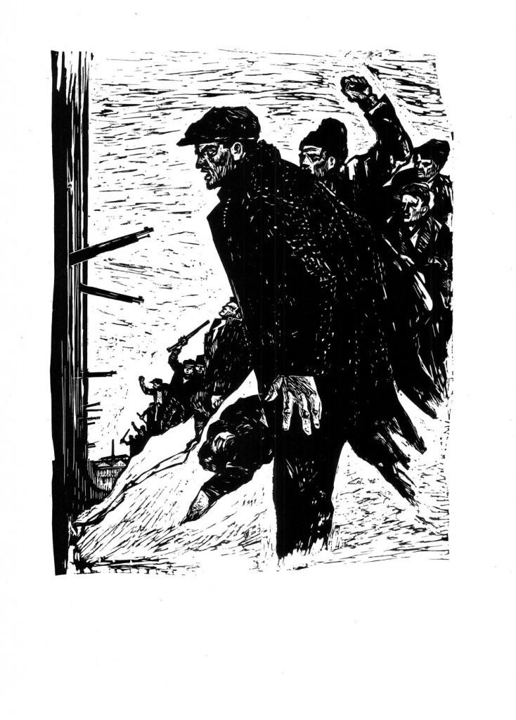 Mihail Gion, Represalii, 1961, linocut, 34x48,5 cm