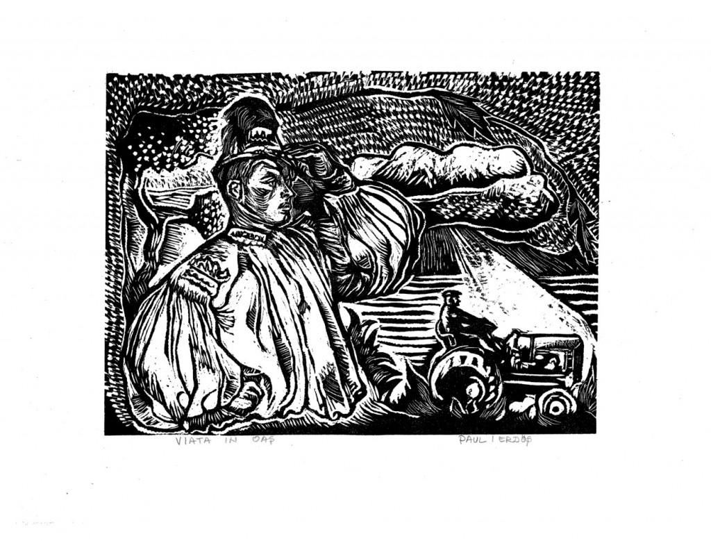 Paul Erdöș, Viata Noua, (Oas 1957), 1957, engraving, 34x44 cm