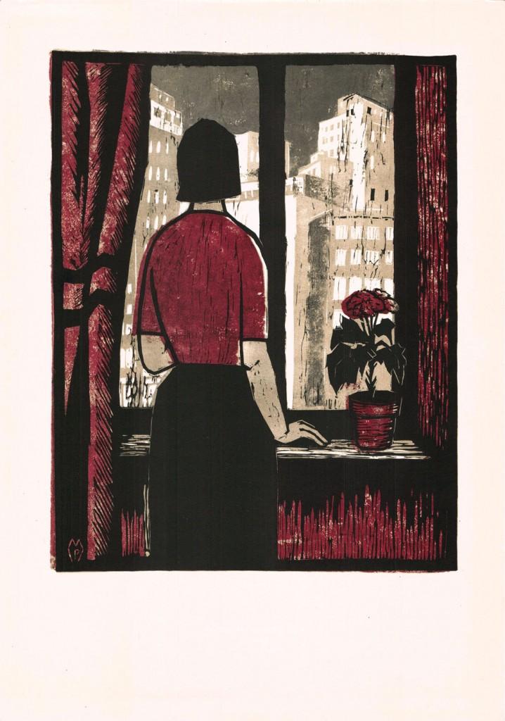 Puia Hortensia Masichevici, Blocuri noi, 1959, color linocut, 34×48,5 cm