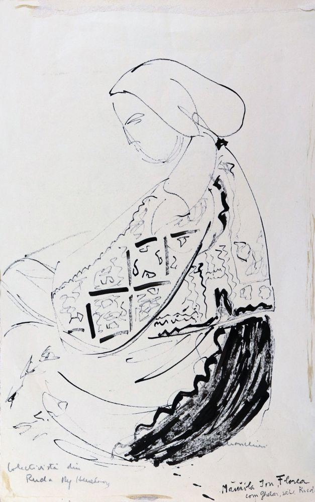 Puia Hortensia Masichievici, Colectivistă din Ruda, regiunea Hunedoara, desen tuș, 50x32 cm