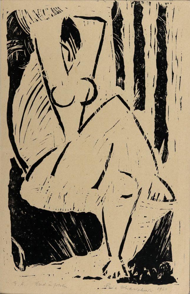 Puia Hortensia Masichievici, Nud în fotoliu, E.A., 1964, xilogravură, 50x38 cm