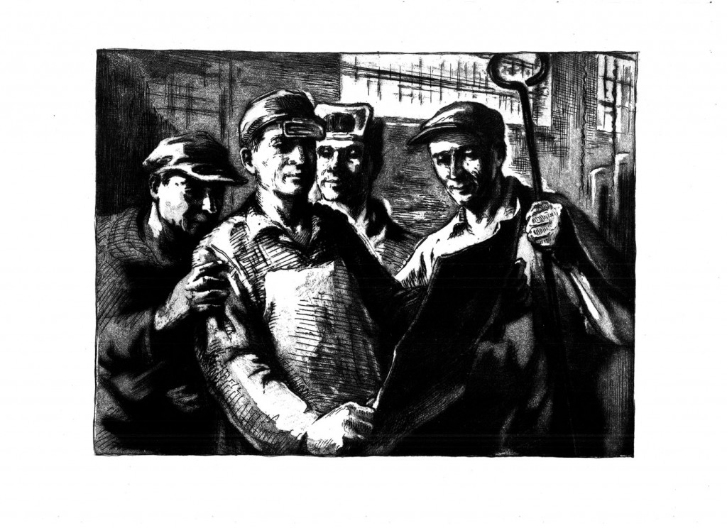 Simion Iuca, Evidențiați la ziar, 1962, etching and aquatint, 34×48,5 cm